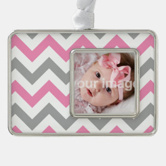Add your photo - Pink and Gray Chevron pattern Silver Plated Framed Ornament