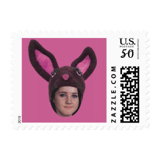 Add Your Photo Pink Bunny Ears Postage