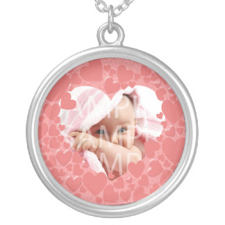 add your photo,pink,heart  frame silver plated necklace
