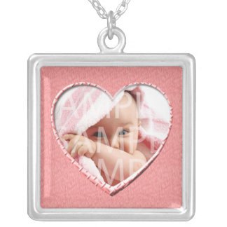 add your photo,pink,heart  frame(size fit) silver plated necklace