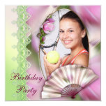 Add Your Photo Pink Magnolia Birthday Party Personalized Invitation