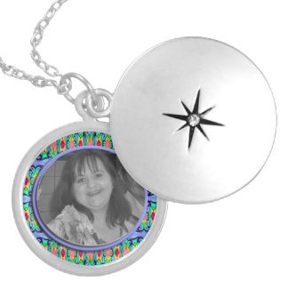 Add your photo pretty blue green Frame Locket Necklace