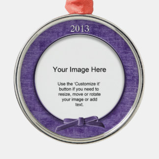 Add Your Photo - Purple Chenille Round Template Round Metal Christmas Ornament