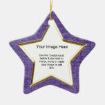 Add Your Photo - Purple Chenille Star Template Ceramic Ornament