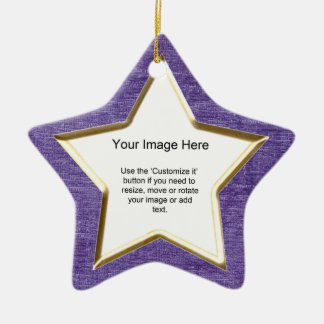 Add Your Photo - Purple Chenille Star Template Double-Sided Star Ceramic Christmas Ornament