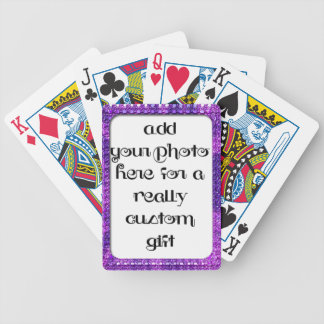 Add Your Photo Purple Frame Bicycle® Play Bicycle Playing Cards