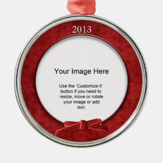 Add Your Photo - Red Chenille Round Template Christmas Tree Ornament