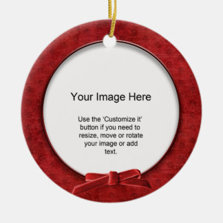 Add Your Photo - Red Chenille Round Template Christmas Tree Ornaments