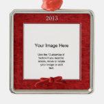 Add Your Photo - Red Chenille Square Template Ornament
