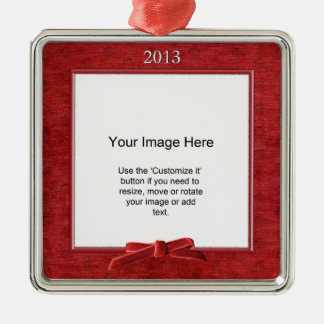 Add Your Photo - Red Chenille Square Template Square Metal Christmas Ornament