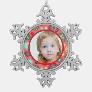 Add Your Photo Retro Snowflake Pattern Snowflake Pewter Christmas Ornament