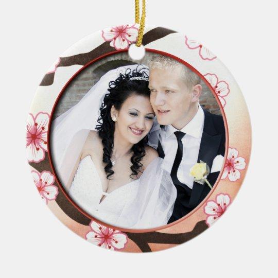 Add Your Photo Sakura Thank You Wedding Ornament