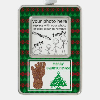 Add Your Photo Sasquatch Track Funny Christmas Silver Plated Framed Ornament