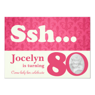 Add your photo ssh surprise 80th birthday invite