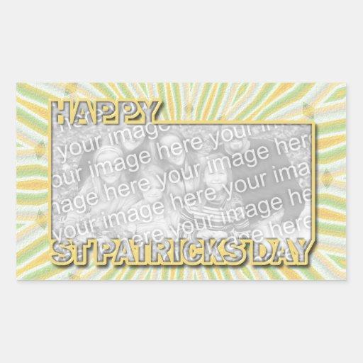 ADD YOUR PHOTO St Pats Day - Burst Rectangular Sticker