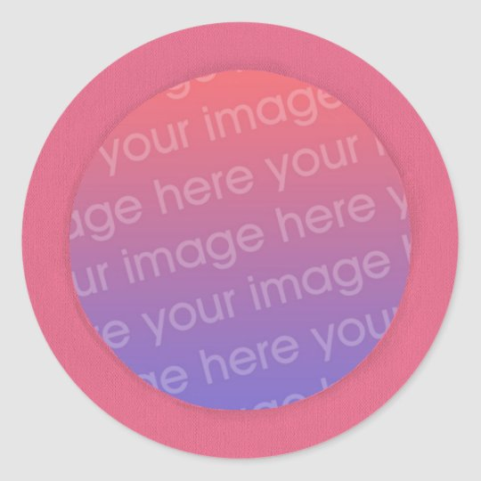 Add your photo stickers, in a pink circle frame classic round sticker