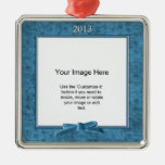 Add Your Photo - Teal Chenille Square Template Christmas Tree Ornaments