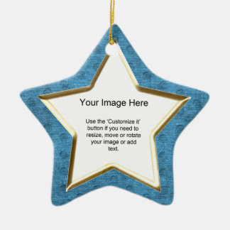 Add Your Photo - Teal Chenille Star Template Ceramic Ornament