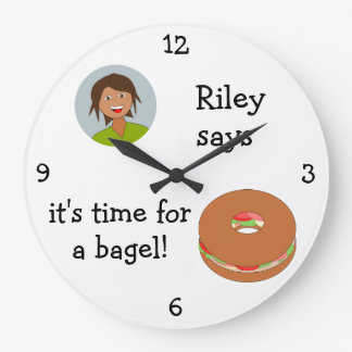 Add Your Photo: 'Time for a Bagel' Large Clock