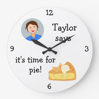 Add Your Photo: 'Time for (Apple) Pie' Graphic Large Clock