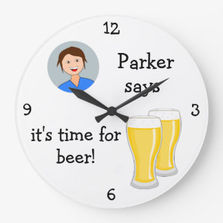 Add Your Photo: 'Time for Beer' Large Clock