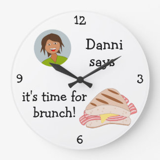 Add Your Photo: 'Time for Brunch' Large Clock