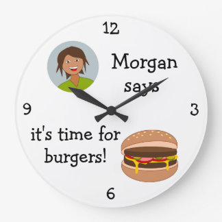 Add Your Photo: 'Time for Burgers' Large Clock