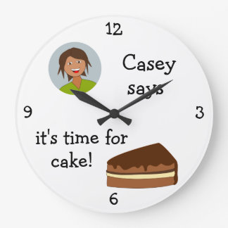 Add Your Photo: 'Time for Cake' Round Wallclocks