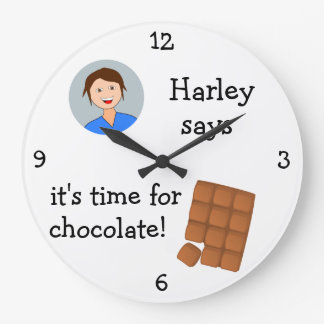 Add Your Photo: 'Time for Chocolate' Large Clock