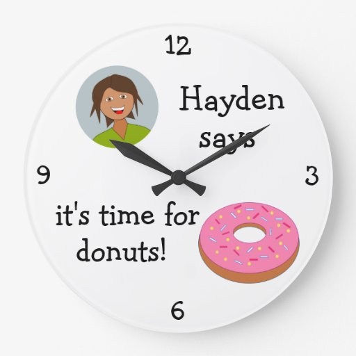 Add Your Photo: 'Time for Donuts' Wallclock