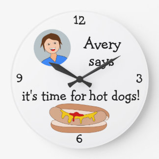 Add Your Photo: 'Time for Hot Dogs' Large Clock