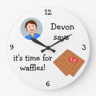 Add Your Photo: 'Time for Waffles' Large Clock