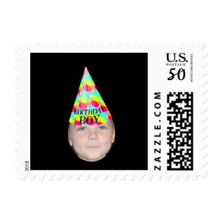Add Your Photo To A Birthday Boy Party Hat Postage