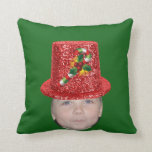 Add Your Photo To A Candy Cane Christmas Hat Pillows