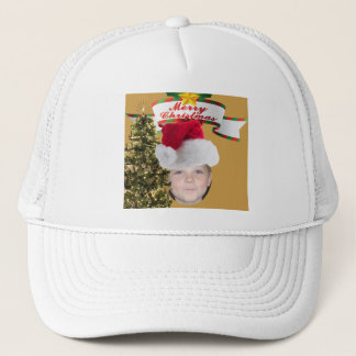Add Your Photo To A Merry Christmas Tree Scene Trucker Hat