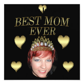 Add Your Photo To A Mothers Day Tiara 5.25x5.25 Square Paper Invitation Card
