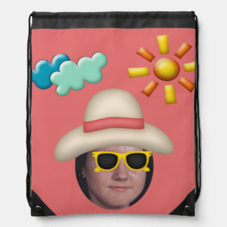 Add Your Photo To A Summer Sunglasses Theme Drawstring Backpack