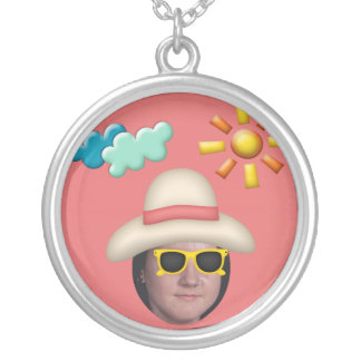 Add Your Photo To A Summer Sunglasses Theme Round Pendant Necklace