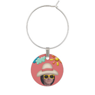 Add Your Photo To A Summer Sunglasses Theme Wine Glass Charm
