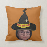 Add Your Photo To A Wizards Hat & Glasses Throw Pillow