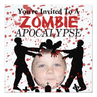 """Add Your Photo To A Zombie Apocalypse Invasion 5.25"""" Square Invitation Card"""