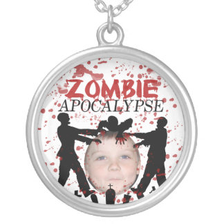 Add Your Photo To A Zombie Apocalypse Invasion Silver Plated Necklace