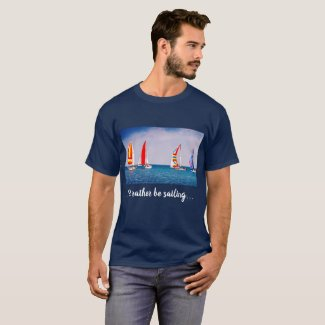 Add Your Photo to Dark Blue Sailboat Regatta T-Shirt
