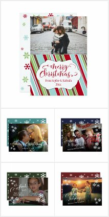 Add Your Photo Typography Holiday Cards