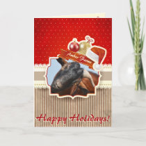 ADD YOUR PHOTO Vintage Goat Christmas Card