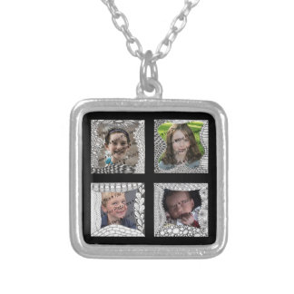 Add-Your-Photos 4 Photo Collage Square Pendant Necklace