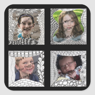 Add-Your-Photos 4 Photo Collage Square Sticker