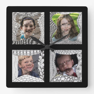 Add-Your-Photos 4 Photo Collage Square Wall Clock
