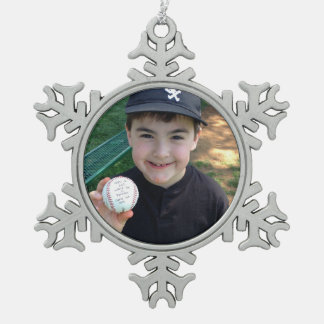 Add Your Photos and Text Personalized Snowflake Pewter Christmas Ornament
