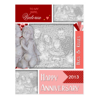 ADD YOUR PHOTOS Anniversary Kissing Cherubs Postcard